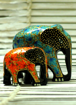 Papier Mache design on wood,Indiacraft,Kashmiri Art -  Papier  Mache Elephant Set