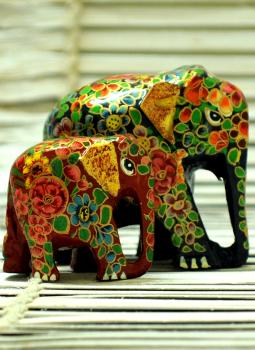 Papier Mache design on wood,Indiacraft,Kashmiri Art -  Papier  Mache Elephant Set