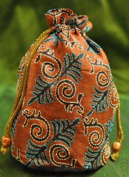 Benarasi potli  bag,Indiacraft,Kantha Embroidery Potli bags (H- 7.5