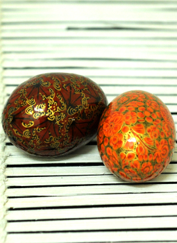 Papier Mache design on wood,Indiacraft,Kashmiri Art Papier Mache Egg - Set of 2