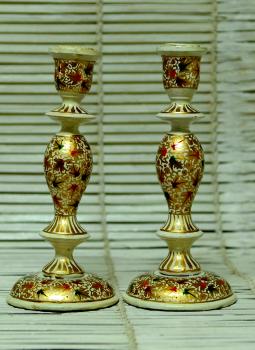 Papier Mache design on wood,Indiacraft,Kashmiri Art  Papier Mache Large Candle Stands  Set -of-2