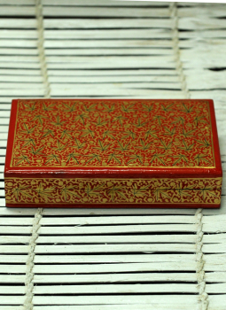 Papier Mache design on wood,Indiacraft,Kashmiri Art - Papier Mache Rectangle Box Multicoloured