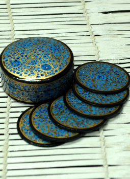 Papier Mache design on wood,Indiacraft,Kashmiri Art - Papier Mache Coster Set With Box