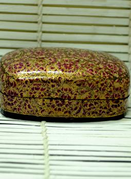 Papier Mache design on wood,Indiacraft,Kashmiri Art - Papier Mache Large Rectangle Box Multicolo...