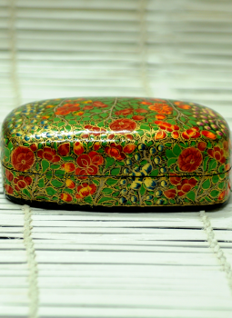 Papier Mache design on wood,Indiacraft,Kashmiri Art - Papier Mache Large Rectangle Box Multicolo...