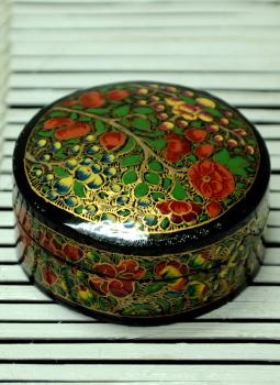 Papier Mache design on wood,Indiacraft,Kashmiri Art - Papier Mache Small Round Box Multicoloured