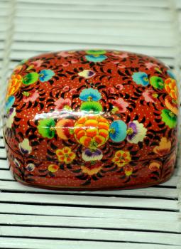 Papier Mache design on wood,Indiacraft,Kashmiri Art - Papier Mache Small Square Box Multicoloured