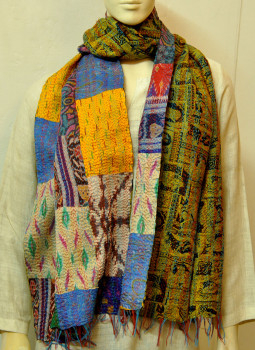 Stoles and Dupattas,Indiacraft,Reversible Patchwork Kantha Stole Multicoloured  (KB7BKSMF)