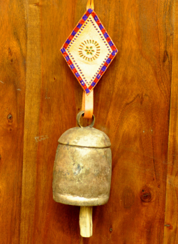 Brass Metal Art,Indiacraft,Kutch copper craft door bell - large size with cream embr...