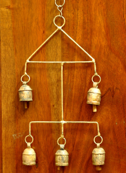 Brass Metal Art,Indiacraft,Kutch copper craft bells - small size 2-tier cluster square