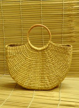 Bhadohi woven baskets,Indiacraft,Kouna Craft Large Tote Bag -Beige