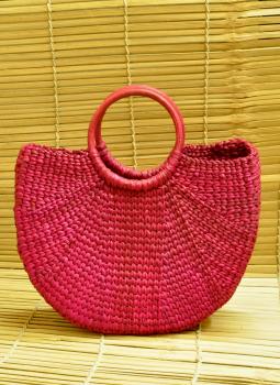 Bhadohi woven baskets,Indiacraft,Kouna Craft Large Tote Bag -Magenta