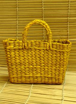 Bhadohi woven baskets,Indiacraft,Kouna Craft Tote Bag -Yellow