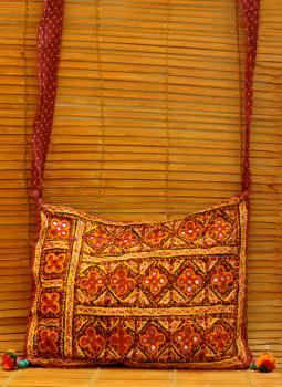 Kutch Embroidered Handbags,Indiacraft,Kutch embroidered banjara Sling Bag - multicolored  KEBSBMA
