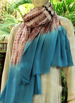 Warm Stoles & Mufflers,Indiacraft,Fine,Soft kashmiri Tie & Dye Wool Stole -Brown & Turquois...