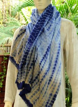 Warm Stoles & Mufflers,Indiacraft,Fine,Soft kashmiri Tie & Dye Wool Stole -Blue & Light Brown