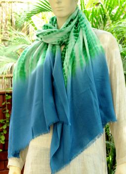 Warm Stoles & Mufflers,Indiacraft,Fine,Soft kashmiri Tie & Dye Wool Stole - Green & Blue