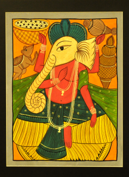 Kalighat Paintings,Indiacraft,Lord Ganesha - Kalighat style Painting With Mount