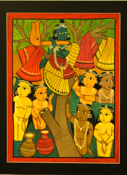 Kalighat Paintings,Indiacraft,Lord Krishna - Kalighat style Painting With Mount