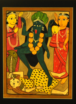 Kalighat Paintings,Indiacraft,Goddess Kali - Kalighat style Painting With Mount