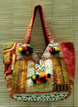 Kutch Embroidered Handbags,Indiacraft,Kutch zari Patchwork Banjara large Bag  Multicoloured