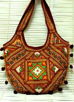 Kutch Embroidered Handbags,Indiacraft,Kutch Patchwork Banjara large Bag  Multicoloured
