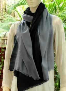 Warm Stoles & Mufflers,Indiacraft,Fine,Soft kashmiri Shaded Wool Stole -Black & Grey