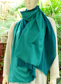 Warm Stoles & Mufflers,Indiacraft,Fine,Soft Kashmiri Shaded Wool Stole -Shades of Turquoise...