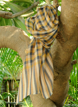 Warm Stoles & Mufflers,Indiacraft,Fine, Soft Kashmiri Wool Muffler - Beige & Brown Checks