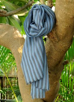Warm Stoles & Mufflers,Indiacraft,Fine, Soft kashmiri Wool Muffler - Blue Striped
