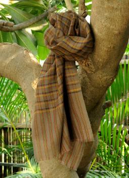 Warm Stoles & Mufflers,Indiacraft,Fine, Soft kashmiri Wool Muffler - Brown  & Mustard Checks