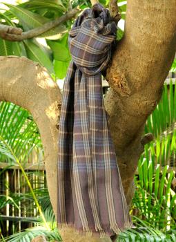 Warm Stoles & Mufflers,Indiacraft,Fine, Soft kashmiri Wool Muffler - Grey Checks
