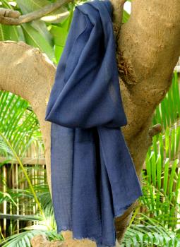 Warm Stoles & Mufflers,Indiacraft,Fine, Soft kashmiri Wool Muffler - Navy Blue