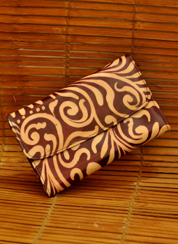 Embossed Leather Wallets,Indiacraft,Leather Embossed Small Clutch - Brown Oriental LEP96BRO