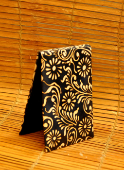 Embossed Leather Wallets,Indiacraft,Leather Embossed Paper Holder- Black Oriental  LEPH85BO