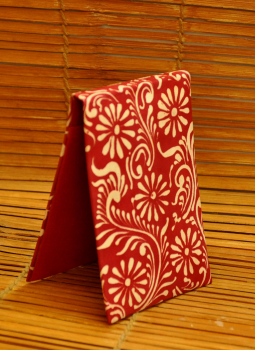 Embossed Leather Wallets,Indiacraft,Leather Embossed Paper Holder-Red Oriental  LEPH85RO