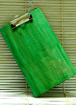 Embellished wood,Indiacraft,Large  Engraved Wood Clipboard - Peacock feather