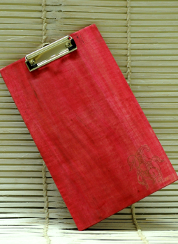 Embellished wood,Indiacraft,Large  Engraved Wood Clipboard - Paisley Red