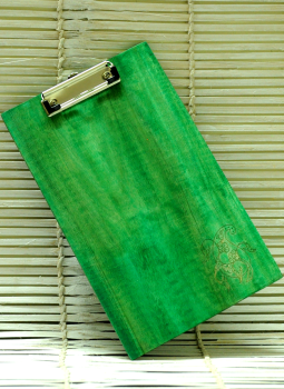 Embellished wood,Indiacraft,Large  Engraved Wood Clipboard - Paisley Green