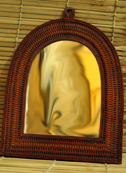 Cut out leather,Indiacraft,Semi Oval Shaped Mirror With Leather Frame (14