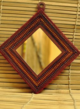 Cut out leather,Indiacraft,Square Shaped Mirror with Leather Frame (7.5