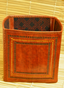 """Cut out leather,Indiacraft,Cut Out Leather Magazine Holder(H- 15"""" , Dia – 10"""") LMH1510"""