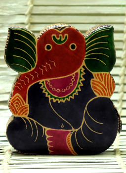 Embossed Leather (West Bengal),Indiacraft,Leather Piggi Bank Big Ganesh Multicoloured