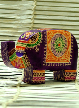 Embossed Leather (West Bengal),Indiacraft,Leather Piggi Bank Big Elephant Multicoloured