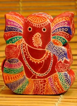 Embossed Leather (West Bengal),Indiacraft,Leather Piggi Bank Big Ganesh Multicoloured LPBEC