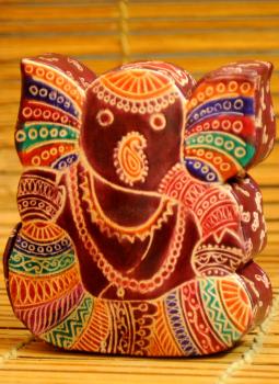 Embossed Leather (West Bengal),Indiacraft,Leather Piggi Bank Big Ganesh Multicoloured LPBED