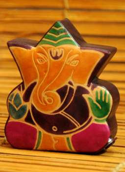 Embossed Leather (West Bengal),Indiacraft,Leather Piggi Bank Small Ganesh Multicoloured LPBEG