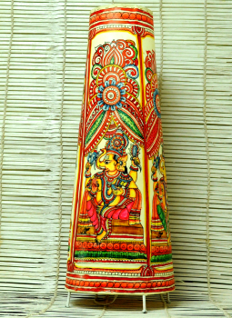Lamp Shades,Indiacraft,Leather Painted Standing Lamp Shade- Ganesh- Large