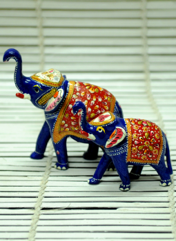 Brass Metal Art,Indiacraft,Meenakari Art  - Set of Elephants