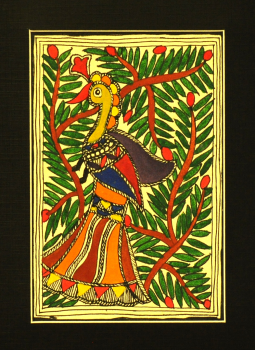 Madhubani,Indiacraft,Madhubani Art on Paper With Mount- Peacock